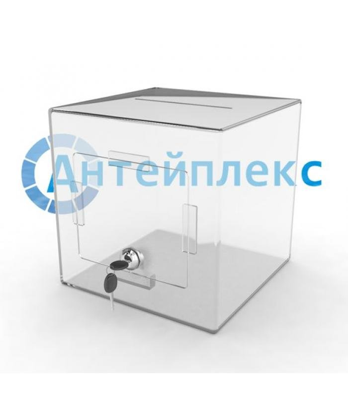 Ящик для пожертвований с крышкой на лицевой стороне и замком